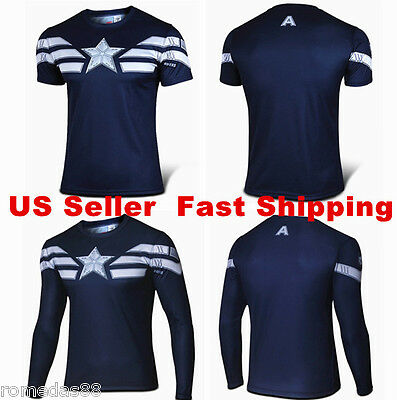 2c2cf66f5ac2 Details about 2015 Captain America Winter Soldier Tee Short Long Sleeve T- Shirt Sports Jersey