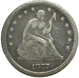 """1877 US Seated Liberty Silver Quarter 25C   """"No Reserve Auction""""           A-177"""
