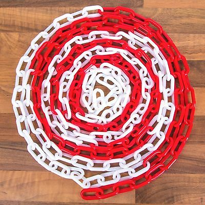 RED//WHITE PLASTIC CHAIN Visible Barrier Warning Safety Fence Cord Line 5M-50M