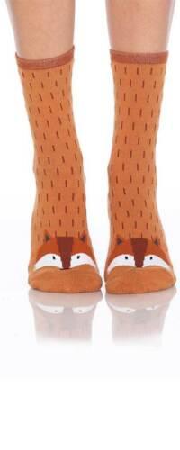 Foot Traffic Brown Fox Slipper Non Skid Socks Ladies Crew Socks Brown New