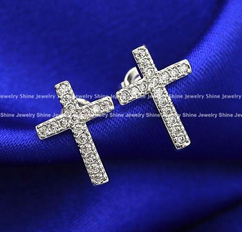 9K WHITE ROSE YELLOW GOLD GF DIAMOND CT MEN WOMEN CROSS CRUCIFIX STUD EARRINGS