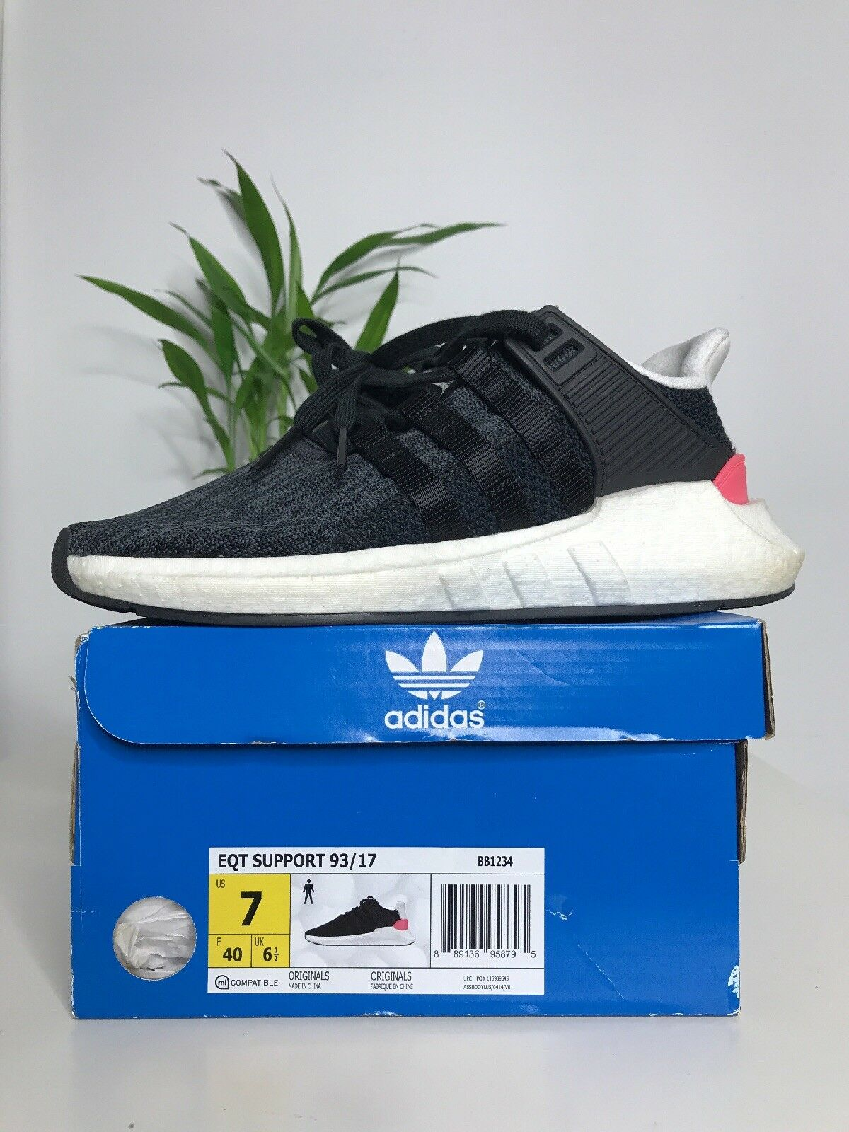 Adidas EQT 93/17 Support Boost Size 7 BB1234 Core Black & Turbo Red