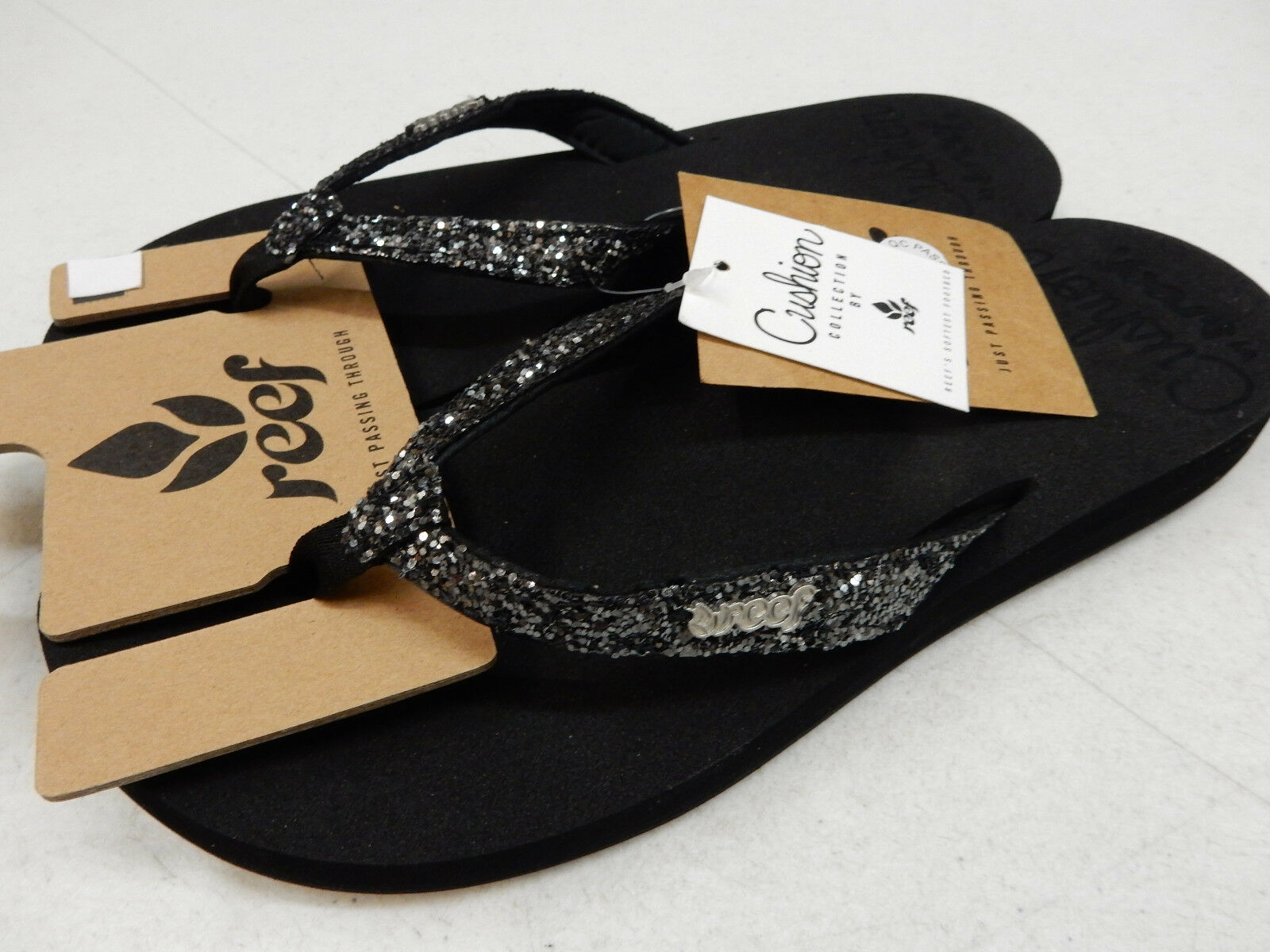 REEF WOMENS SANDALS STAR CUSHION BLACK GUNMETAL SIZE 8
