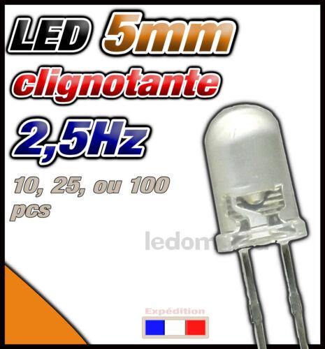25 ou 100pcs dispo 10 416O# LED 5mm clignotante rapide 2,5Hz orange ronde