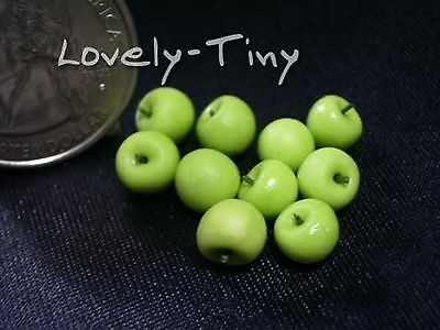 Dollhouse Miniature Food Lot 10 Loose Green Apple Fruit Supply For Charms  6875