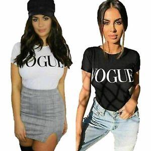New-Women-VOGUE-Slogan-Crew-Neck-Short-Sleeve-Casual-T-Shirt-Size-UK-8-16
