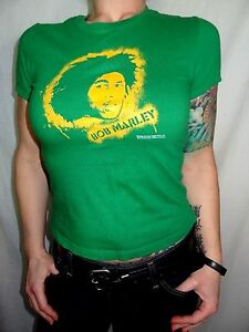 Bob-Marley-Green-2005-Cotton-Babydoll-Graphic-Tee-Size-Juniors-S-Zion-Rootswear