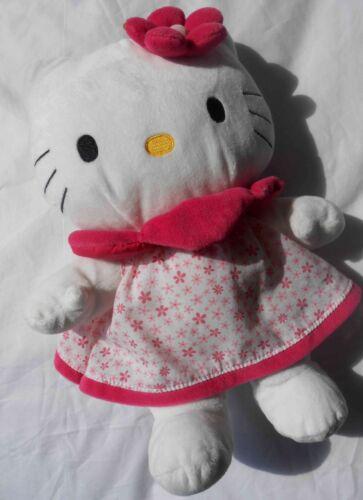 doudou peluche HELLO KITTY 30 cm SANRIO robe blanche et rose à fleurs comme neuv