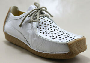 HEYRAUD-Mocassin-a-Lacets-Cuir-Blanc-Ajoure-T-40-TBE
