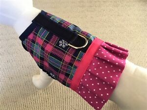 Holiday-Pink-And-Navy-Plaid-Snowflake-Dog-Harness-Vest-With-Ruffle-Skirt