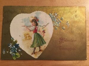 ANTIQUE-Vintage-VALENTINE-POSTCARD-Young-Maiden-Heart-Embossed-GOLD-Germany