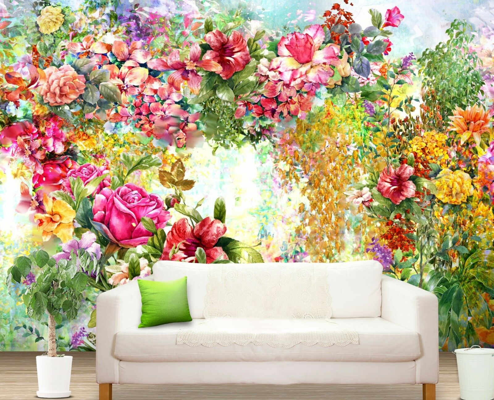 3D  flower Bright painting Wall Paper Print Decal Wall Deco Indoor wall Mural