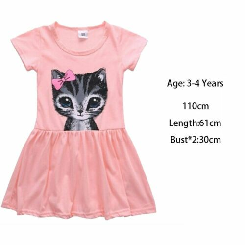 Sundress Floral Cotton Short Sleeve Cat Print Children Clothing Kids Girl Dress