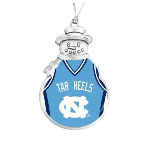 North Carolina Tar Heels Snowman Basketball Jersey Silver Christmas Ornament UNC