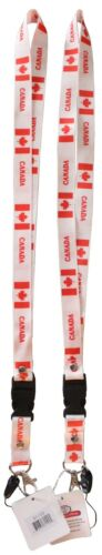 White /& Red with Canada Flags 12 Pack Canadian Themed Lanyards