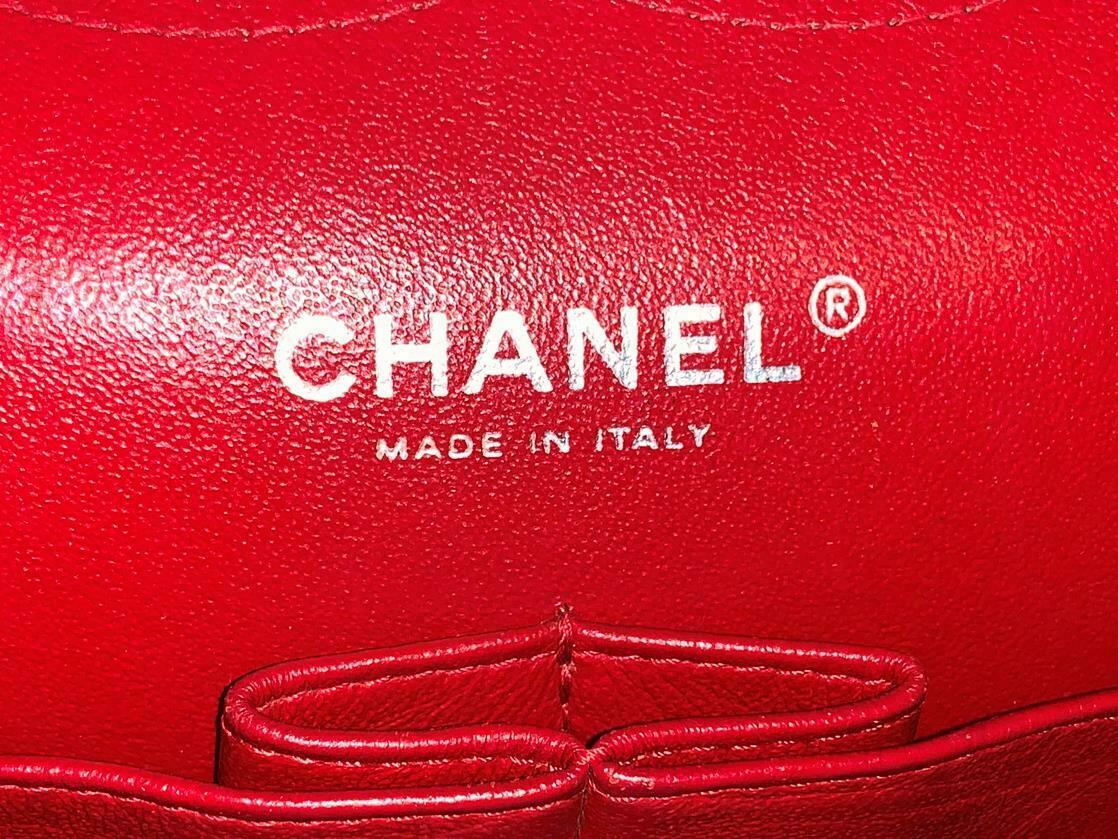 Authentic Chanel Classic Jumbo Red Caviar Double … - image 11