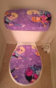 Image Is Loading Disney Frozen Sisters Ice Skating Snowflake Fleece Toilet