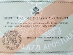 VATICANO-Prefettura-del-Palazzo-Apostolico-Permesso-1968-Card-Nasalli-Rocca