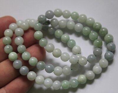 "8mm Certified Natural Untreated Light Green Jadeite Jade Round Beads Necklace20/"""