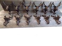 12 Rustic Elk Deer Moose Head Hooks Cast Iron Coat Hook Rack Restoration Hat