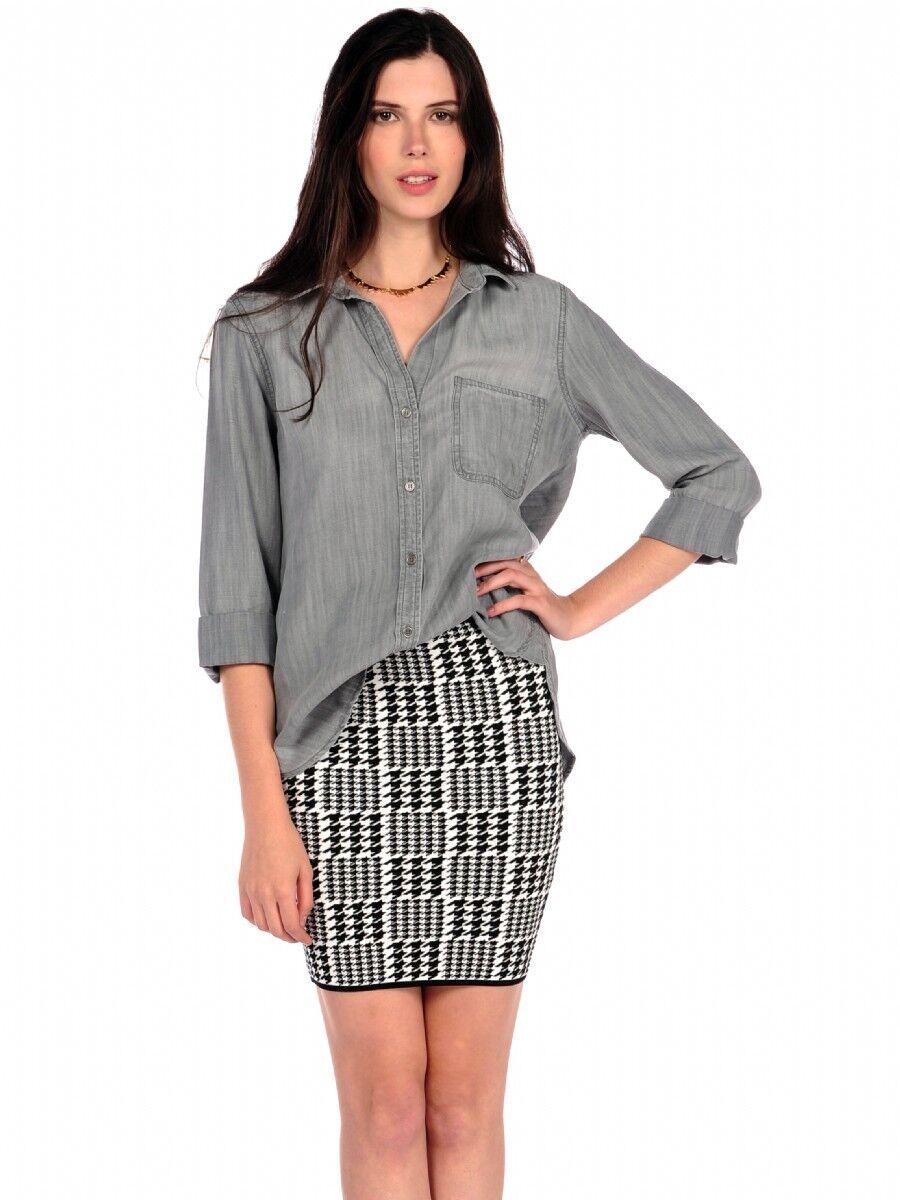 Neu Cloth & Stone Damen Szs Hemd Schwanz Knöpfe 3 4 Arme Grau