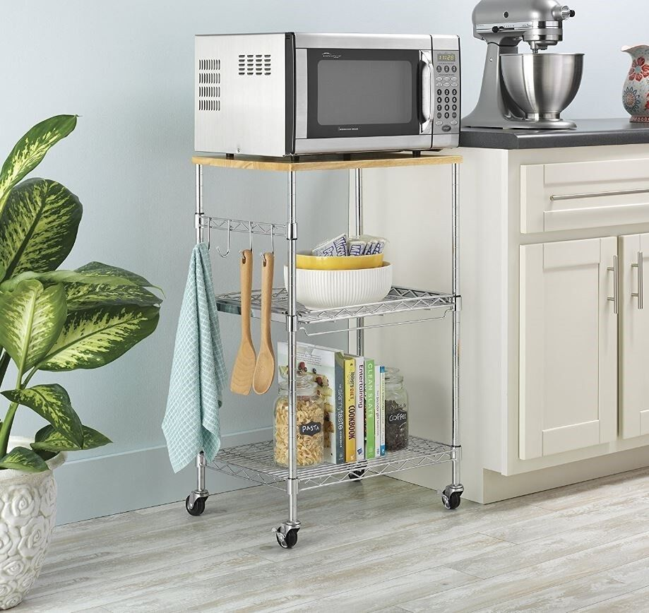 10 Tier Wire Rolling Kitchen Cart Food Service Microwave Stand Table Bamboo  Top