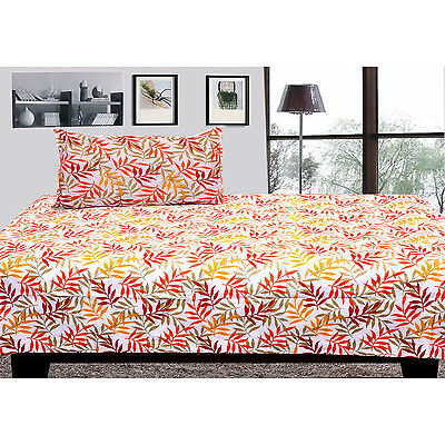 100% cotton single bed sheet with 1 pillow covers - light leaf single