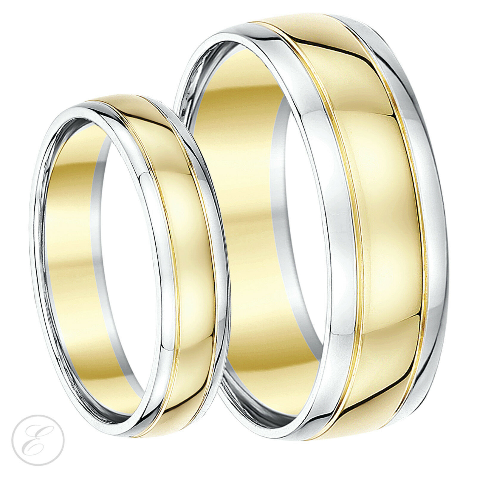 9 Ct deux-colors His & Hers Anneau Bague mariage 5mm 7mm 9K