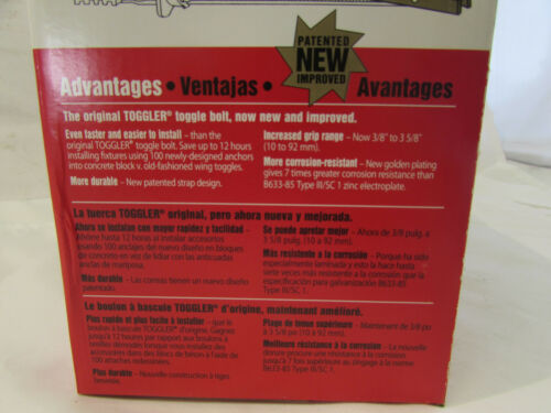 "BOX OF 100 *NIB* HILTI TOGGLER 00374496 TOGGLE BOLTS 1//4/"" {SCREWS NOT INCLUDED}"