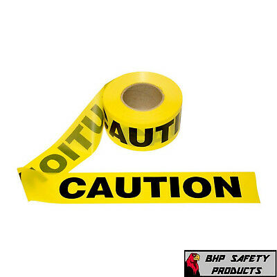 "YELLOW CAUTION BARRICADE WARNING SAFETY RIBBON TAPE 3"" X 1000' 12 ROLL CASE"
