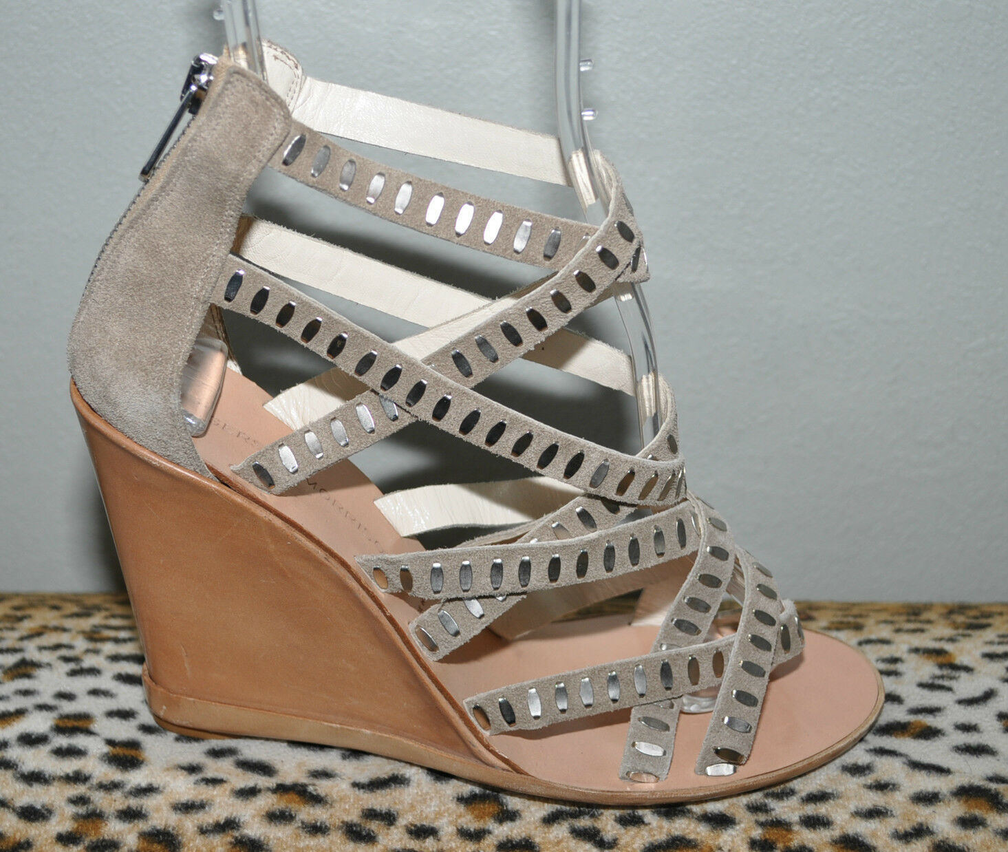 SIGERSON MORRISON Strappy Studded Suede Wedges size 7