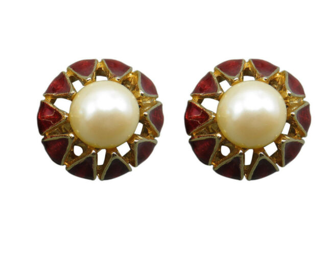 Donald Stannard Vintage Clip Earrings Red Enamel Faux Pearl Gold Designer 558f