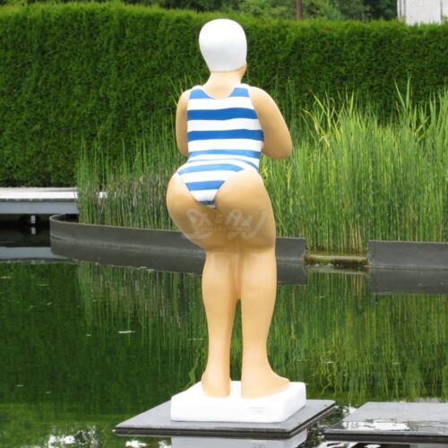 BADENDE ELLI BADEANZUG MARINE Streifen SCHWIMMERIN NIXE TEICH Garten Deko Figur