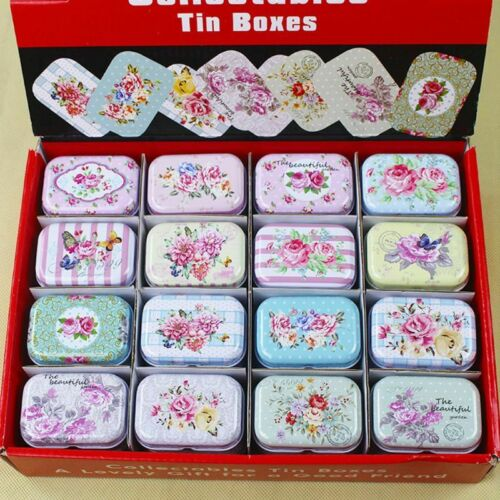 Mini Tin Storage Case Candy Coin Box Rectangular Organizer Container Flip Cover