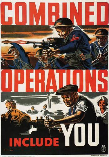 Wb23 Vintage Ww2 operaciones combinadas incluyen ustedes los Ingleses Wwii Guerra Cartel A2//a3