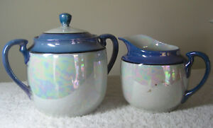 Vintage-Blue-Lusterware-Creamer-amp-Sugar-Bowl-with-Lid-Made-in-Japan