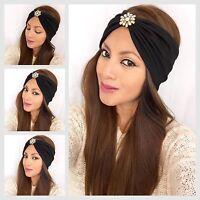 Bohemian Jeweled Turban Headband Fashion Head Wrap Wide Yoga/workout Head Wrap