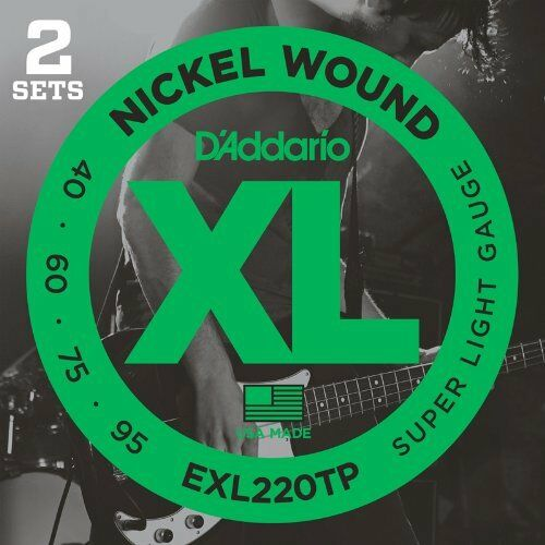 40-95 D/'Addario Nickel Wound Bass Guitar Strings Long 2 Sets Super Light
