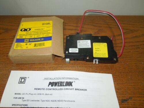 Square D QO120PL 20A 1p 120V Powerlink Remote Controlled Circuit Breaker Surplus