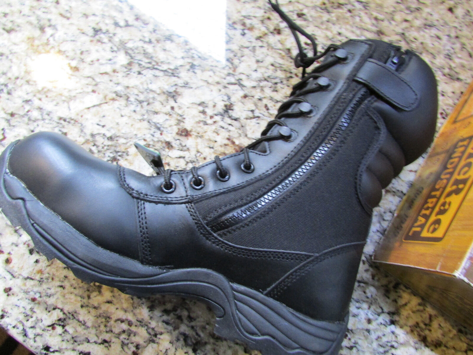 NEW MCRAE BY DAN POST MENS COMPOSITE TOE WORK BOOTS MENS POST 11 BLACK LEATHER NO SLIP 07858d