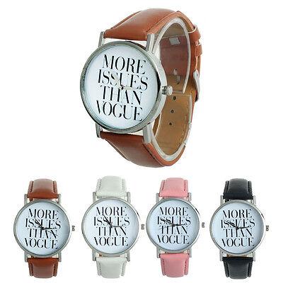 Women Men English Letters Leather Band Analog Quartz Dial Wrist Watch Trendy