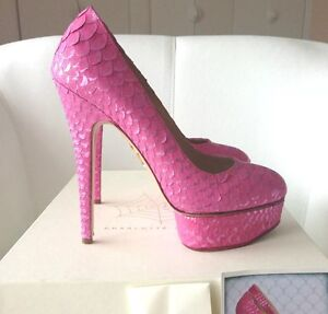 95 CHARLOTTE OLYMPIA PRISCILLA PYTHON PINK FUCHSIA PLATFORM SHOES PUMPS 37