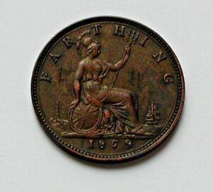 1879-UK-British-Victoria-Coin-Farthing-1-4d-graffiti-scratches-M-amp-F-II