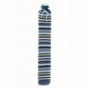 Warmies Extra Lungo bottiglia di acqua calda Strisce Blu Lavorato A Maglia Cover 80cm PVC Quick & Easy