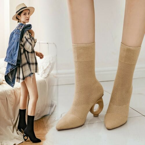 Classic Fashion Womens Mid Calf Boots Knitting High Loop Heels Pointy Toe Shoes