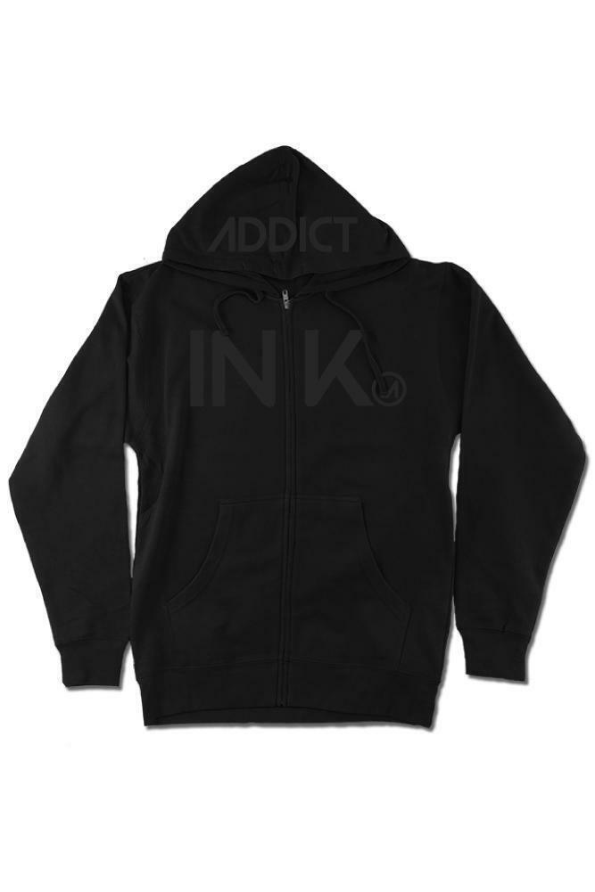 NEW InkAddict INK ZIP LIGHT WEIGHT Hoodie BLACK / black SMALL-2XLARGE TATTOO
