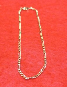Jewelry & Watches Anklets Reliable 10 1/2 Inch 14kt Gold Ep 2mm Figaro Anklet Promote The Production Of Body Fluid And Saliva