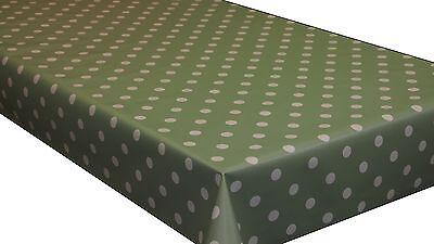 Polka Dots PVC Vinyl Tablecloth Oilcloth Wipe Clean 140cm wide - Premium Quality