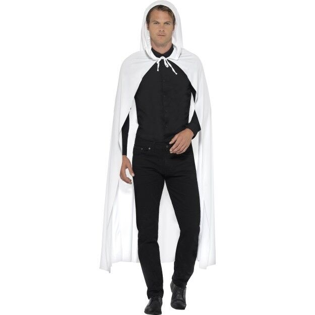 Hooded Cape Mens Ladies White Haloween Ghost Fancy Dress Cape