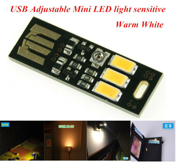 Mini Mobile Power Sensitive Control Diammible USB LED night Warm Light lamp E